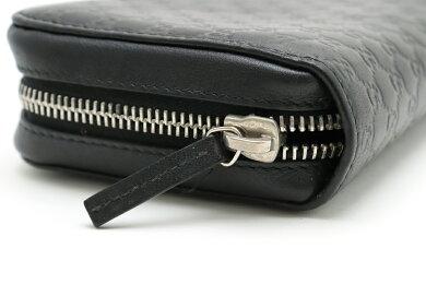 【財布】GUCCIグッチグッチシマラウンドファスナー長財布レザー黒ブラック278635【中古】