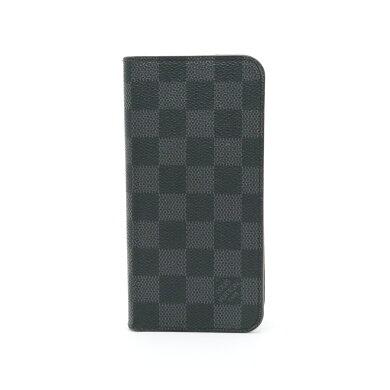 LOUISVUITTONルイヴィトンダミエグラフィットiPhone7プラスフォリオアイフォン7+ケースアイフォンケーススマホケースイニシャル入りN63352【中古】
