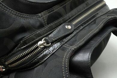 【バッグ】COACHコーチマディソンオプアートマギートートバッグショルダーバッグサテンキャンバスレザー黒ブラックシルバー金具14305【中古】
