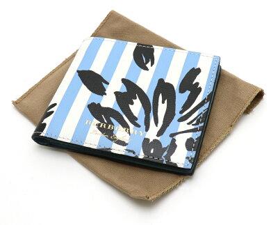 【未使用品】【財布】BURBERRYバーバリー2つ折り財布2つ折り札入れレザーストライプライトブルー水色ホワイト白ブラック黒【中古】