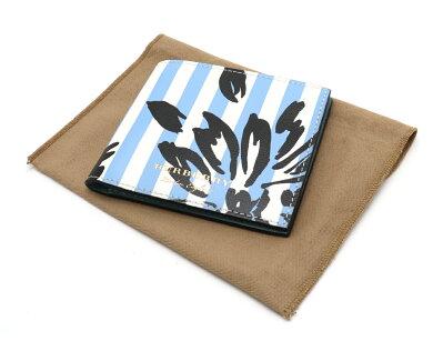 【新品未使用品】【財布】BURBERRYバーバリー2つ折り財布2つ折り札入れレザーストライプライトブルー水色ホワイト白ブラック黒
