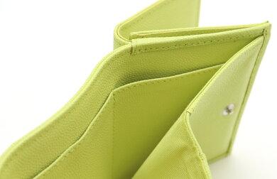 【未使用品】【財布】CHANELシャネルキャビアスキンココマーク3つ折財布コンパクトウォレットレザーライトグリーン黄緑【中古】