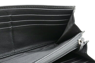 【財布】GUCCIグッチマイクログッチシマBOWYリボンモチーフ2つ折り長財布レザーブラック黒388679【中古】