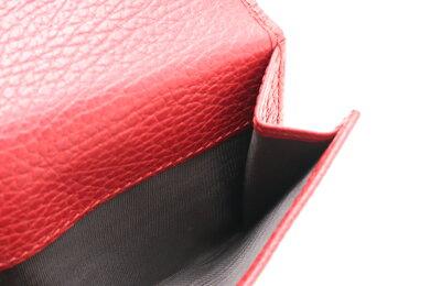 【新品未使用品】【財布】GUCCIグッチプチマーモントフレンチフラップウォレット2つ折財布レザーレッド赤ゴールド金具456122496334