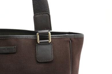 【バッグ】GUCCIグッチトートバッグハンドバッグキャンバスレザーブラウン茶264221アウトレット品【中古】