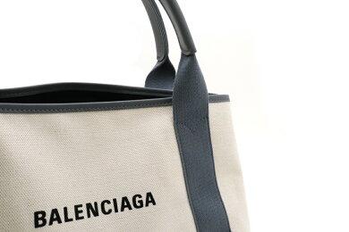 【未使用品】【バッグ】BALENCIAGAバレンシアガネイビーカバロゴトートバッグハンドバッグキャンバスレザーポーチ付き黒グレーナチュラル339933【中古】
