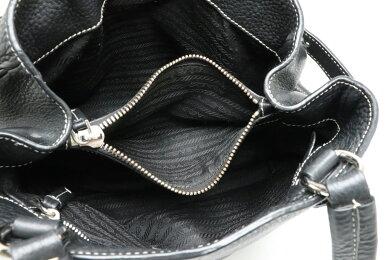 【バッグ】PRADAプラダトートバッグショルダーバッグ肩掛けレザーNERO黒ブラックシルバー金具【中古】