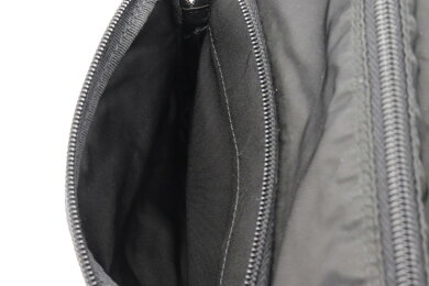 【バッグ】PRADAプラダショルダーバッグ斜め掛けナイロンレザーNERO黒ブラックシルバー金具BT8994【中古】