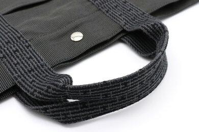【バッグ】HERMESエルメスエールライントートMMトートバッグハンドバッグナイロンキャンバスグレーブラック黒【中古】
