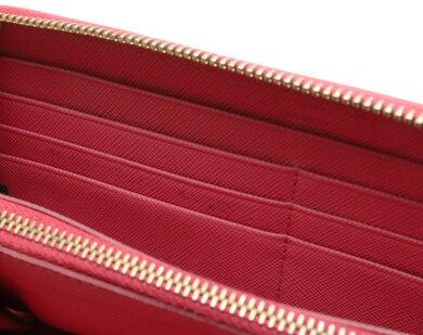 【財布】PRADAプラダラウンドファスナー長財布サフィアーノ型押しレザーリボンピンクゴールド金具1ML506【中古】