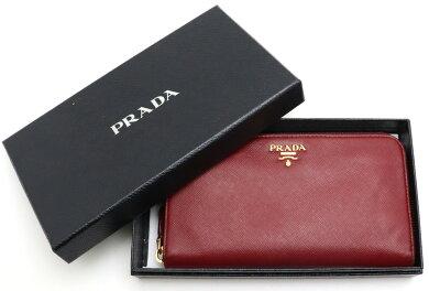 【財布】PRADAプラダラウンドファスナー長財布サフィアーノ型押しレザーレッド赤ゴールド金具1ML506【中古】