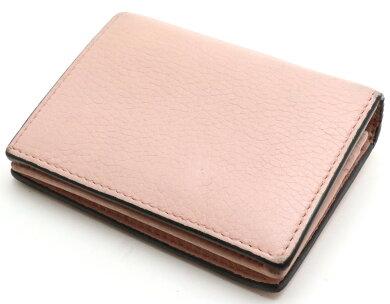【財布】GUCCIグッチアニマリエレザーコンパクトウォレット2つ折財布メタルビー蜂BEEレザーライトピンク460185A7M0T5909【中古】