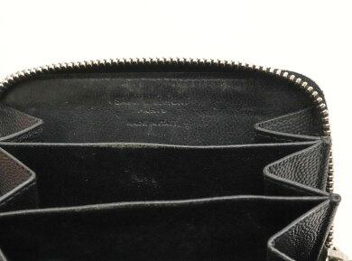 【財布】SAINTLAURENTPARISサンローランパリYSLイブサンローランジップコインケース小銭入れレザー黒ブラックシルバー金具506522【中古】