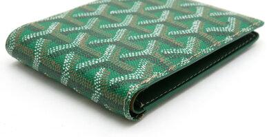 【財布】GOYARDゴヤール2つ折札入れ財布ヘリンボーンPVCレザーグリーン緑イエロー黄APM201【中古】