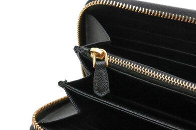 【財布】PRADAプラダラウンドファスナー長財布サフィアーノ型押しレザーNERO黒ブラックゴールド金具1ML506【中古】