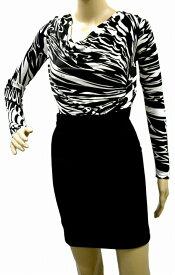 【アパレル】EMILIO PUCCI エミリオ プッチ レディース ワンピース 膝上丈 タイトスカート プリント柄 レーヨン 黒 ブラック ホワイト パーティー #38 11RL81 【中古】【u】