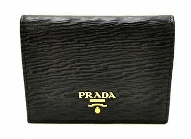【未使用品】【財布】PRADAプラダ型押しレザー2つ折財布黒ブラックNERO1M0204【k】【Blumin楽天市場店】