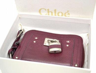 【財布】Chloeクロエパディントン2つ折財布ラウンドファスナーレザーパープルシルバー金具【中古】【k】【Blumin楽天市場店】
