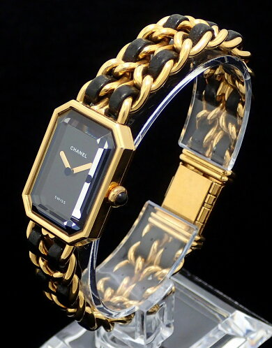 【ウォッチ】CHANELシャネルプルミエールLサイズブラック文字盤ゴールドメッキレディースQZクォーツ腕時計H0001【中古】【k】【Blumin楽天市場店】