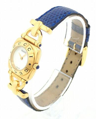 【ウォッチ】GUCCIグッチホワイト文字盤GPゴールドメッキレザーレディースQZクォーツ腕時計6300L【中古】【k】【Blumin楽天市場店】