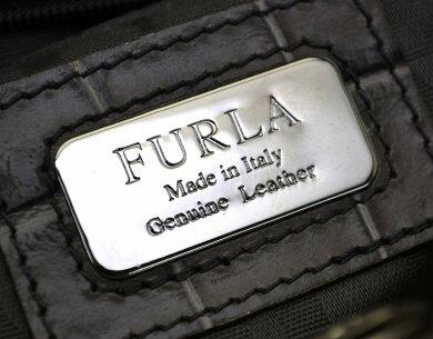 【バッグ】FURLAフルラ型押しクロコダイルクロコ調型押しレザートートバッグハンドバッググレー179972【中古】【k】【Blumin楽天市場店】