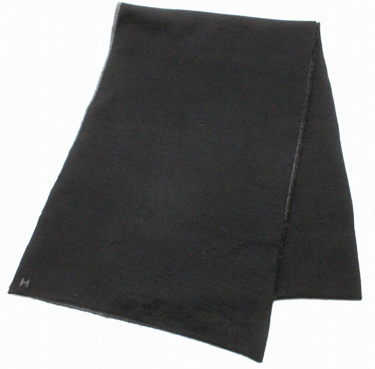 HERMES エルメス マフラー ストール カシミア シルク ブラック 黒 グレー 【中古】【k】