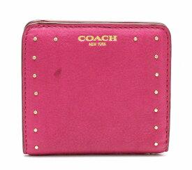 【財布】COACH コーチ 2つ折り財布 スタッズ レザー ゴールド ピンク 赤 レッド 【中古】【u】【Blumin/森田質店】