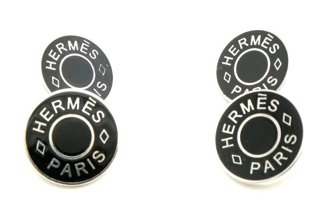 【ジュエリー】HERMES エルメス カフス セリエカフス シルバー メタル ブラック 黒 【中古】【k】