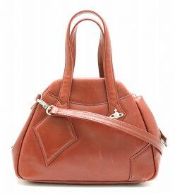 【バッグ】Vivienne Westwood ヴィヴィアン ウエストウッド ハンドバッグ ショルダーバッグ 斜め掛け 2WAY レザー ワインレッド 赤 【中古】【u】