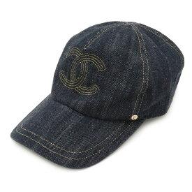 【アパレル】CHANEL シャネル デニム キャップ 帽子 ココマーク デニムブルー 青 ゴールド サイズM #M 【中古】