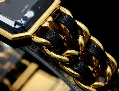 【現金特価】【ウォッチ】CHANELシャネルプルミエールLサイズブラック文字盤ゴールドメッキレディースQZクォーツ腕時計H0001【中古】【k】【Blumin/森田質店】【質屋出店】