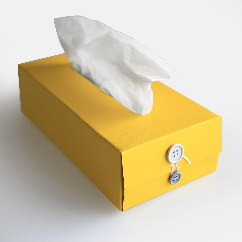 【あす楽対応】concrete craft / BUTTON TISSUE BOX(Yellow)【コンクリートクラフト/ボタンティッシュボックス/クラフトワン/craft_one/ティッシュケース/イエロー】[113026