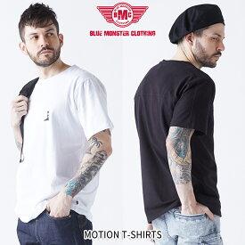 【50%OFF職人応援フェア】Tシャツ コットン タイト 吸水性と肌触りの良さを追求 MOTION T-シャツ メンズ 半袖 コットン100%/オリジナルプリント ホワイト ブラック/M-3Lサイズ
