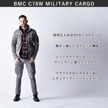 BMCブルーモンスタークロージングカーゴパンツストレッチデニムメンズミリタリーカーゴレギュラーテーパードC78Wワークパンツユーズド加工ミッドナイトユーズド/レベルブラックS-5L