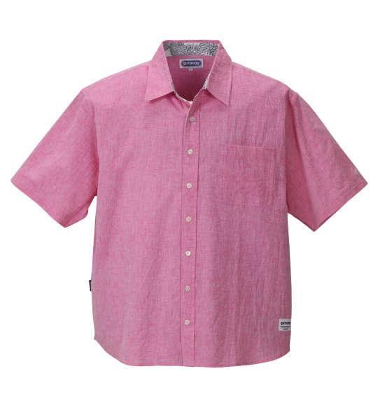 大きいサイズ メンズ OUTDOOR PRODUCTS 異素材使い綿麻半袖シャツ ピンク 1157-8250-5 [3L・4L・5L・6L・8L] 父の日無料ラッピング