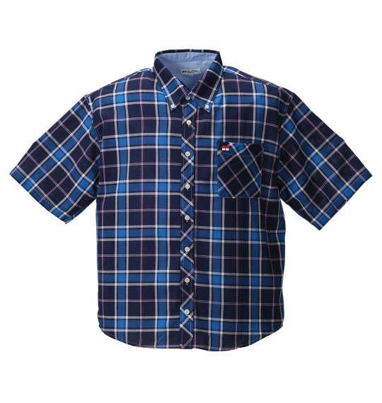 大きいサイズ メンズ H by FIGER パナマチェックB.D半袖シャツ ネイビー系 1167-8211-1 [3L・4L・5L・6L・8L] 父の日無料ラッピング