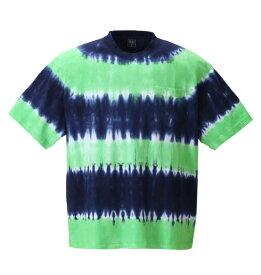 大きいサイズ メンズ SHELTY タイダイボーダーポケット付半袖Tシャツ ネイビー×グリーン 1158-8513-1 [3L・4L・5L・6L・8L]