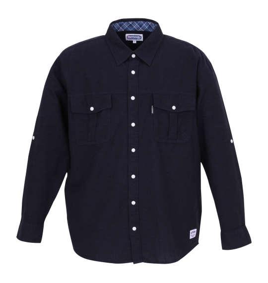 大きいサイズ メンズ OUTDOOR PRODUCTS 綿麻ロールアップ長袖ワークシャツ ネイビー 1157-8100-2 [3L・4L・5L・6L・8L] 父の日無料ラッピング