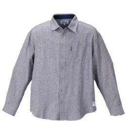 大きいサイズ メンズ OUTDOOR PRODUCTS ロゴプリント デニム調 ツイル 長袖 ネル シャツ ネイビー 1157-9302-1 3L 4L 5L 6L 8L