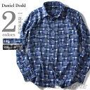 【大きいサイズ】【メンズ】DANIEL DODD 長袖パッチワークチェックシャツ azsh-150416