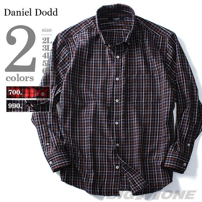 【大きいサイズ】【メンズ】DANIEL DODD 長袖先染めチェックボタンダウンシャツ azsh-160403