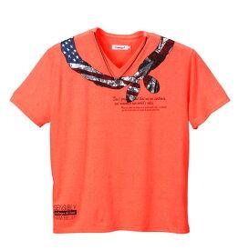 大きいサイズ メンズ EUROYAL ネオンカラー半袖VTシャツ 蛍光オレンジ 1158-5140-1 [3L・4L・5L・6L・8L]