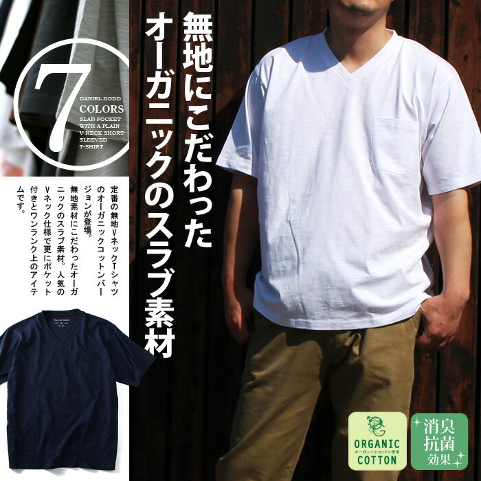 【送料無料】【大きいサイズ】【メンズ】DANIEL DODD スラブ ポケット付 無地Vネック半袖Tシャツ azt-160247