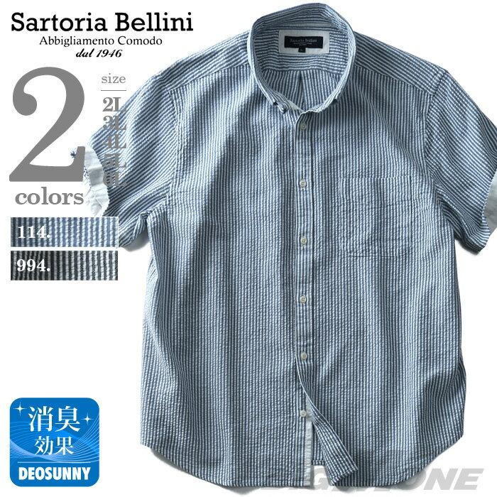 【大きいサイズ】【メンズ】SARTORIA BELLINI 半袖サッカーストライプボタンダウンシャツ【春夏新作】azsh-180240 父の日無料ラッピング