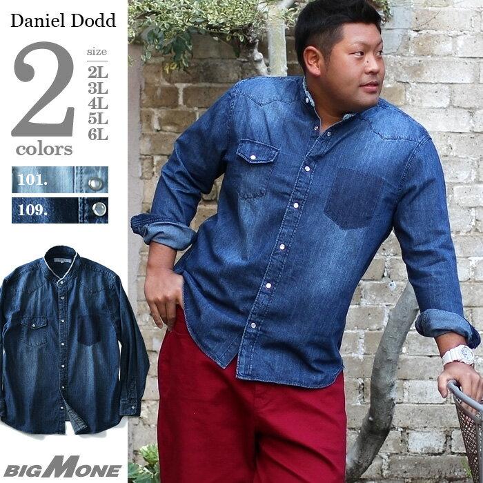長袖デニムバンドカラーウエスタンシャツ 大きいサイズ メンズ DANIEL DODD 【春夏新作】azsh-180116
