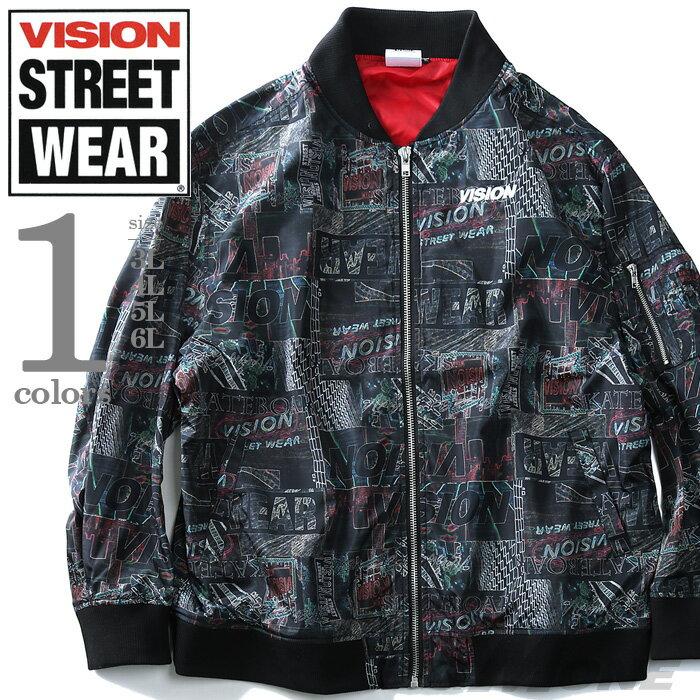 【大きいサイズ】【メンズ】VISION STREET WEAR 転写総柄MA-1ジャケット【秋冬新作】8704101