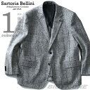 【大きいサイズ】【メンズ】SARTORIA BELLINI ウール混 2ツ釦チェックジャケット azjk3218601