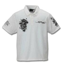 大きいサイズ メンズ Ed Hardy 鹿の子 刺繍 & プリント 半袖 ポロシャツ オフホワイト 1178-9207-1 3L 4L 5L 6L 8L
