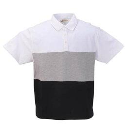 大きいサイズ メンズ Timely Warning 鹿の子 3段 切替 半袖 ポロシャツ ホワイト 1158-9524-1 3L 4L 5L 6L