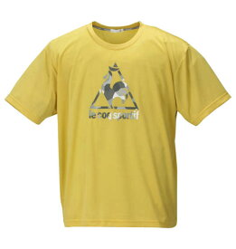 大きいサイズ メンズ LE COQ SPORTIF ボックス メッシュ ニット 半袖 Tシャツ プランタンミモザ 1178-9100-3 2L 3L 4L 5L 6L